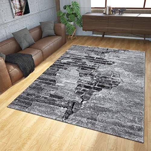 TT Home Tapis Industriel Gris Salon Design Béton Motif Pierre Look 3D Poils Ras, Dimension:120x170 cm