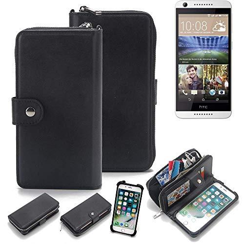 K-S-Trade 2in1 Handyhülle Für HTC Desire 620G Dual SIM Schutzhülle und Portemonnee Schutzhülle Tasche Handytasche Hülle Etui Geldbörse Wallet Bookstyle Hülle Schwarz (1x)