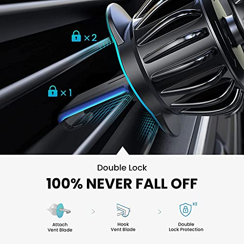 LISEN Phone Holder for Car, [Upgraded Clip] Magnetic Phone Car Mount [360° Rotate Unobstructed] Car Phone Holder Mount [Case Friendly] iPhone Car Holder Compatible with All Smartphones & Tablets