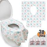 HBselect 30 pcs Einweg Toilettenauflagen Toilettenbezüge 65 x 60 cm WC Toilette Auflage Toiletten Sitzbezug WC-Sitz Matte Toilettenpapier Pad Kinder und Erwachsene Super für Unterwegs Klo (Mustern)
