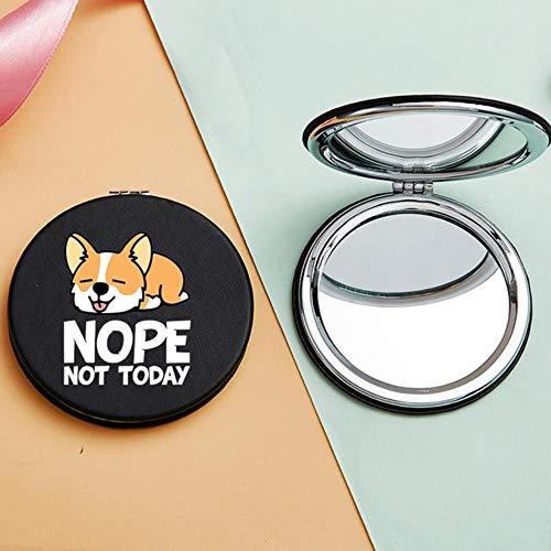 LASISZ Miroir de Maquillage Portable de Dessin animé avec Miroir de vanité cosmétique Compact à Double Face pour Chien Corgi, 8659-Black-Round