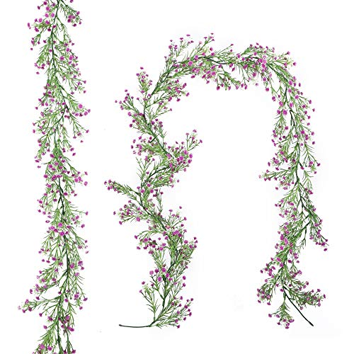 Homcomoda Artificial Flowers Vines Fake Baby Breath Plants Real Touch Gypsophila Garland Hanging for Wedding Home Outdoor Garden Decoration(Purple)
