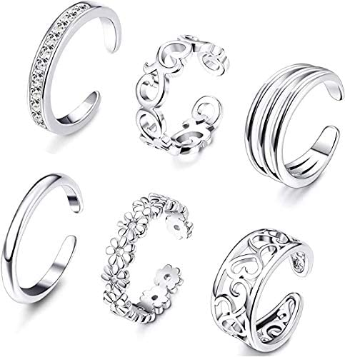 RYANDYPE 6PCS Adjustable Toe Rings Set for Women Girls Open Tail Ring Band Hawaiian Foot Jewelry
