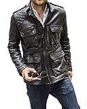 Genuine Black Leather Jacket Men - Lambskin Motorcycle Mens Leather Jackets (XXX-Large, Black Field Jacket)
