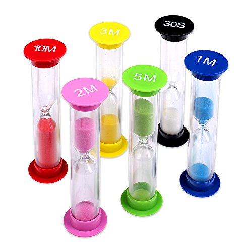 Schramm® 6er Pack Sanduhren Sanduhr Sandclock Sand Uhren Eieruhr Uhr Stoppuhr Zeit messen 6 Stück