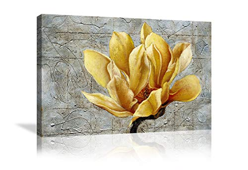 Yellow Grey Flower Wall Art Abstract Gray Background Print on Canvas Home Decor Decal Pictures Poster for Bedroom Living Room Printed Painting Gifts Framed Ready to Hang - 36''x24''