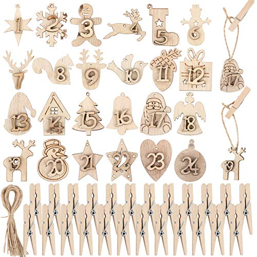 BHGT Ciondoli in Legno Numeri 1-24 Mollette Cordini Iuta Natale Calendario dell Avvento Fai da Te Addobbi Natalizi Decorazioni Natalizie Regalo Sacchetti Scatole