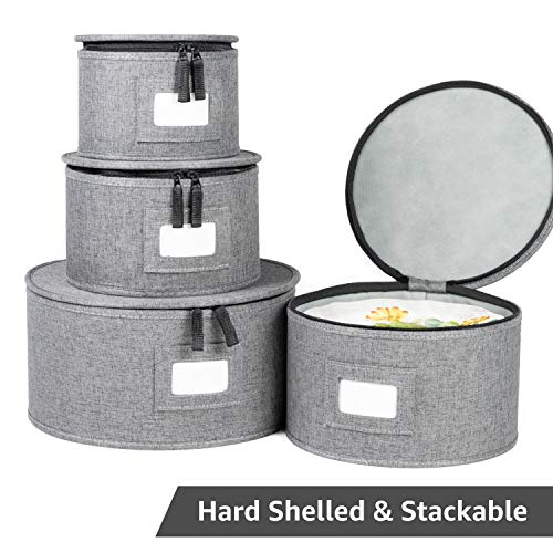 China Storage Set, 4-Piece Set for Dinnerware Storage and Transport, Protects Dishes, Felt Plate Dividers Included (Grey - Plates Only)