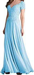 Jonlyc Short Sleeve Lace Appliques Evening Gown A-Line Long Chiffon Mother of The Bride Dress