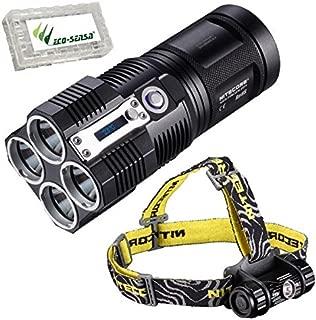Combo: Nitecore TM26 LED Flashlight -4000 Lumens w/Nitecore HC50 2016 Edition Headlamp +Free Eco-Sensa Battery Case