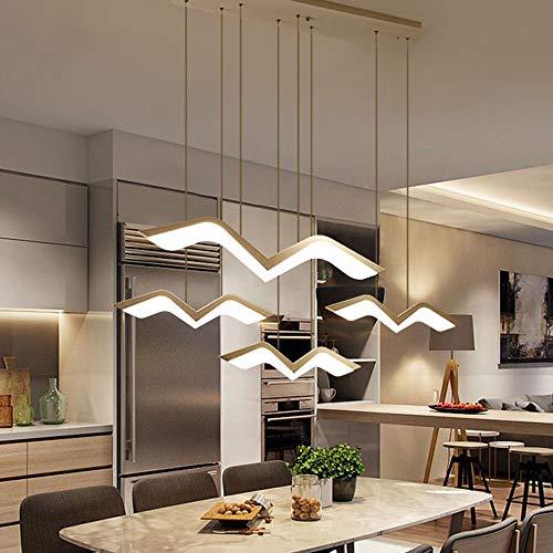 LED Lámpara colgante para mesa de comedor luz colgante regulable Chandelier con control remoto moderno gaviota diseño Lámparas de Techo metal acrílico para comedor dormitorio Plafón de Techo (4LIGHTS)