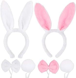 FLOFIA 2 Sets Bunny Kostüm Set Bunny Ohren Haarreif Stirnband Fliege Schwanz Cosplay Hasenohren Kaninchen Tier Cosplay Kos...