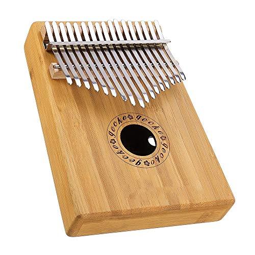 Finger Daumen Klavier 17 Tasten Mbira Kalimba Bamboo B Tone Daumenklavier Finger Mit Tune Hammer (Color : Without Pickup, Size : One Size)