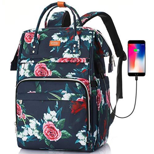 Mochila Escola para Mujeres,Mochila para Portatil Impermeable para Jóvenes con Bolsillo RFID, Bolsos Casuales para la Universidad/Negocios/Viajes(Gris)