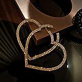 Pendientes de aro grandes de plata de ley 925 en forma de corazón, pendientes de aro de diamantes de imitación con aguja hipoalergénica, regalo del día de San Valentín, regalo de la madre, oro / plata