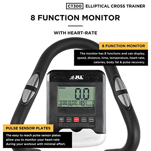 JLL® CT300 Home Luxury Elliptical Cross Trainer, 2021 Magnetic Cardio Workout with 8-level Magnetic Resistance, 5.5KG Two Way Flywheel, Console Display with Heart Rate Sensor and Tablet Holder. Silver