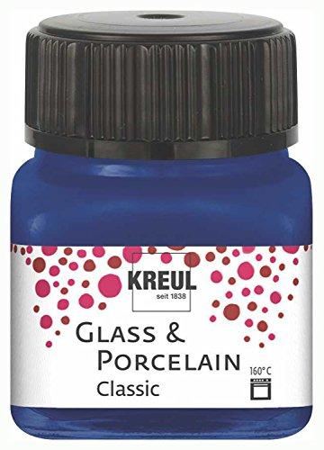 Kreul 16213 - Glass & Porcelain Classic royalblau, im 20 ml Glas, brillante Glas- und Porzellanmalfarbe auf Wasserbasis, schnelltrocknend, deckend