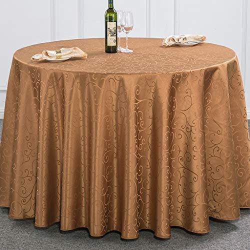 XHC tafelkleed, rond, wit, damast, jacquard-tafelkleed, polyester, waterafstotend, voor feestjes of picknicks in landelijke stijl