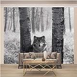 BLZQA 3D Papel tapiz Fotográfico Lobo de madera Mural Salón Dormitorio Despacho Pasillo Decoración murales decoración de paredes moderna 300x200 cm-6 panelen