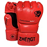 ZTTY MMA Gloves Martial Arts Training Sparring Punching Bag Gloves for The Kickboxing with Microfiber Leather (Red, M)