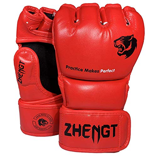 ZTTY MMA Gloves Martial Arts Training Sparring Punching Bag Gloves for The Kickboxing with Microfiber Leather (Red, L-XL)