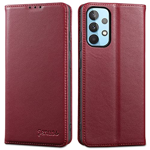 Jenuos Funda Samsung Galaxy A32 4G, Carcasa Libro de Cuero Genuino [Bloqueo RFID] con Tapa Cierre Magnético y Ranura Tarjeta Funda Piel Cartera para Samsung A32 4G 6,4'-Rojo Vino(A32-PD-4WR)