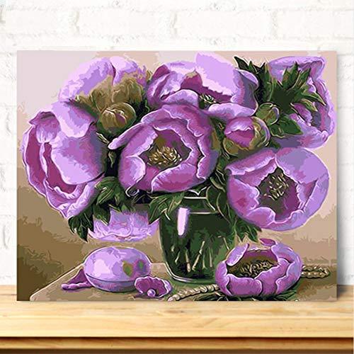 Pmhhc pioenrozen in een glazen vaas DIY olieverfschilderij door cijfers bloemen digitaal zeildoek schilderij muurschildering Without Framed