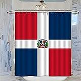 DRAGON VINES Cortina de ducha con bandera de la República Dominicana, 183 x 183 cm, impermeable, resistente al moho, cortina de baño con 12 ganchos de plástico, lavable