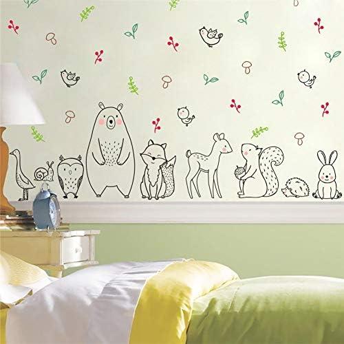 Safari Woodland Animals Wall Sticker Bear Deer Rabbit Wall Decal Black White Jungle Animal Nursery product image