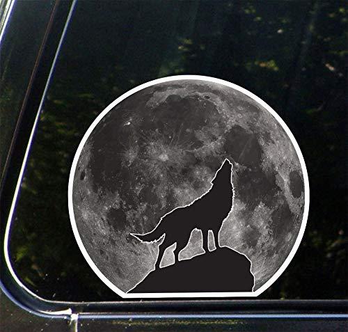Tra56owe PS-110, Full Moon Wolf Howling, diseño 1, etiqueta adhesiva de despegue y pegue (4.5 pulgadas de ancho x 4 pulgadas de alto)