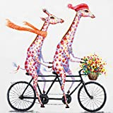 Paint by Numbers for Adults DIY Oil Painting Kits for Kids, Beginner Canvas Painting Kits, 16x20 inch-2Giraffes,Ride a Bike
