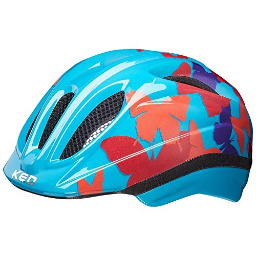 KED Meggy II Trend XS Butterfly Blue - 44-49 cm - inkl. RennMaxe Sicherheitsband - Fahrradhelm Skaterhelm MTB BMX Kinder Jugendliche