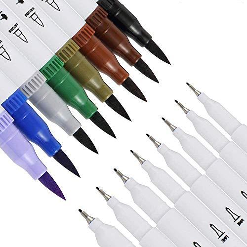 CHANG Filzstifte dicke und dünne ,Pinselstift Set 12 Farben 0.4mm-2mm mit 2 verschiedenen Spitzen Bullet Journal Malstifte auf Wasserbasis Art Marker Fineliner