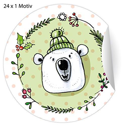 24 grappige kerststickers met ijsberen in muts voor Kerstmis, matte papieren stickers voor geschenken, meegebeld, universele etiketten voor decoratie, pakketten, brieven etc. (ø 45 mm; 24 x 1 motief) 5 x 24 stickers