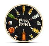 Djkaa Hora Feliz Hora del Vino Reloj de Vino Bebida Reloj de Pared Hombre Cueva Pub Bar Decoración de la Pared Restaurante Bebedor de Vino Alcohol Regalos Bodega Arte