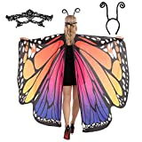 Butterfly Wing Cape Shawl with Lace Mask and Black Velvet Antenna Headband Adult Women Halloween Costume Accessory (Rainbow 2)