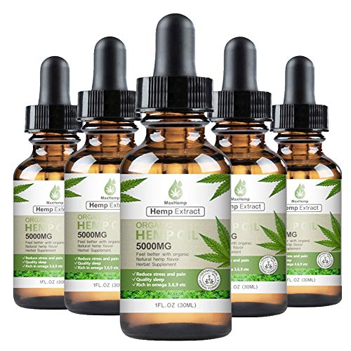 5 Pack/Hemp Oil Drops 5000MG- Anxiety & Stress Relief, Natural Organic Hemp Seed Extract, Rich in Omega 3-6-9 and Vitamin C&E, Vegan Friendly