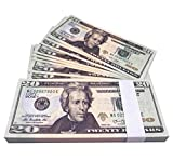 Movie Prop Money One Stack 20 Dollar Bills Double Printing for Movie,Teaching,Viedio and Party