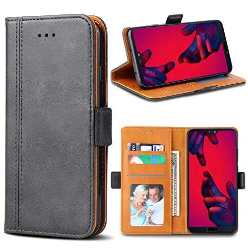 Bozon Huawei P20 Pro Hülle, Leder Tasche Handyhülle für Huawei P20 Pro Schutzhülle Flip Wallet mit Ständer und Kartenfächer/Magnetverschluss (Dunkel-Grau)