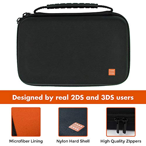 TAKECASE New Nintendo 3DS XL and 2DS XL Carrying Case - Fits Wall Charger - Includes XL Stylus, 16 Game Storage, Hard Shell and Accessories Pocket - Orange/Black