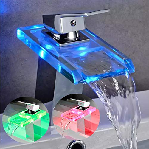 HENGMEI Wasserhahn bad aus Glas Waschbecken Waschbeckenarmatur mit RGB 3 Farbewechsel mit Wasserfall Einhebelmischer Mischbatterie Waschtisch fürs Bad