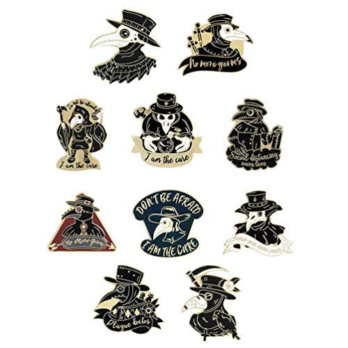 Amosfun 10 Stück Schnabelgesichts-Broschen Pest Emaille Pin Set Steampunk Broschen Cartoon Abzeichen Brosche für Rucksäcke, Jacken, Kleidung, Tasche, Neuheit Revers Badge Golden