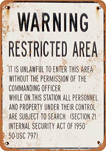 AAHMED Metal Tin Sign, Warning Military Restricted Area Vintage Wall Plaque Man Cave Poster Decorative Sign Home Decor for Indoor Outdoor Birthday Gift 8x12 Inch