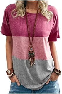 Wanxiaoyyyindx Work Blouses for Women, Women's Summer Color Block Super Tee Casual Short Sleeve Tshirts Loose Top Pullover...
