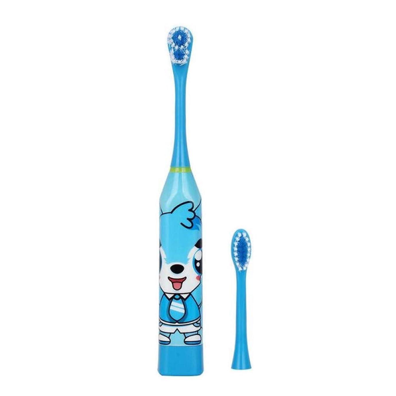 スラダム韓国語高価な子供自動電動歯ブラシ両面キッズ防水超音波歯ブラシ付き2個交換ヘッド、ブルー