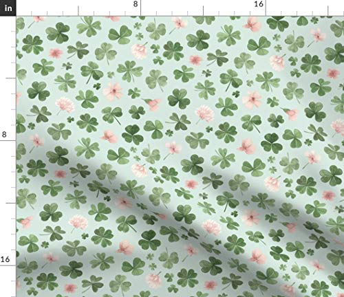 Spoonflower Fabric - Clovers Florals Sea Green Clover Shamrocks Irish Watercolor Printed on Fleece Fabric by The Yard - Sewing Blankets Loungewear and No-Sew Projects