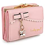 UTO Women's Trifold Wallet Cute Kitty Bowknot Card Holder Small Coin Purse Light Pink