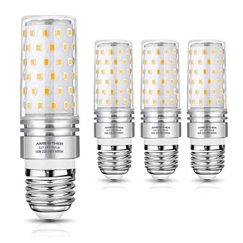 AMBOTHER E27 LED Kaltweiß, 16W 1600LM LED Brine E27 statt 120W Halogenlampe, 6000K Mais Glühbirne E27 Maiskolben Lampen Energiesparlampe Leuchtmittel Kein Flackern AC220-240V 4er Pack