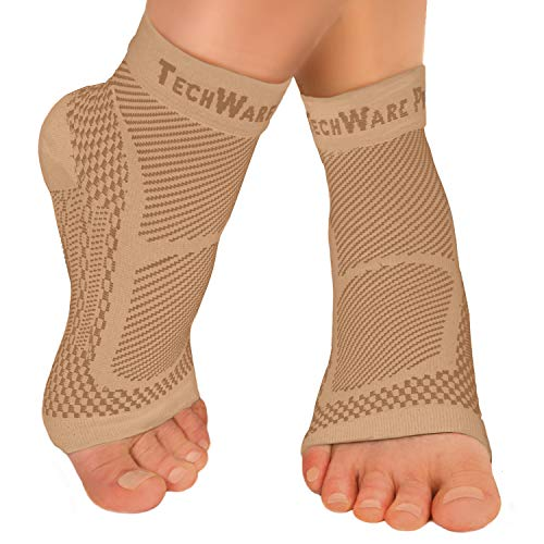 TechWare Pro Ankle Brace Compression Sleeve - Relieves Achilles Tendonitis, Joint Pain. Plantar Fasciitis Foot Sock with Arch Support Reduces Swelling & Heel Spur Pain. (Beige, L / XL)