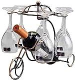 Soporte De Botella De Vino De Mesa Simple Hierro Soporte De Exhibición De Vino De Estilo Europeo Decoraciones Interiores Diseño Minimalista Moderno Portátil Para Amantes Del Vino (Color: Bronce)